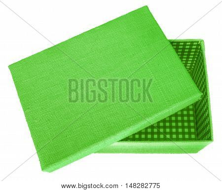 Opened green box wrapped by burlap canvas isolated on a white background. Clipping path included.