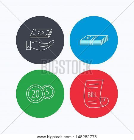 Save money, cash money and bill icons. Coins linear sign. Linear icons on colored buttons. Flat web symbols. Vector