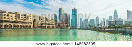 Dubai, United Arab Emirates - May 1, 2013: panorama of skyscrapers of Old Town Island and Dubai Mall, around the Burj Khalifa Lake, Dubai Downtown.