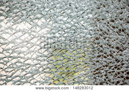 an cracked glass of an windshield of an house