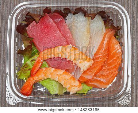 Fresh Raw Fish Slices Japanese Sashimi in Box