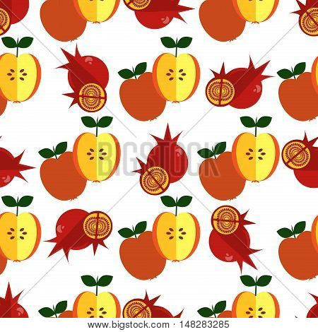 Red fresh pomegranate applepattern art food design seamless vitamin vector ornament. Hand drawn seamless texture pomegranates fruit pattern. Sliced pomegranates and fruit seeds sweet graphic texture.
