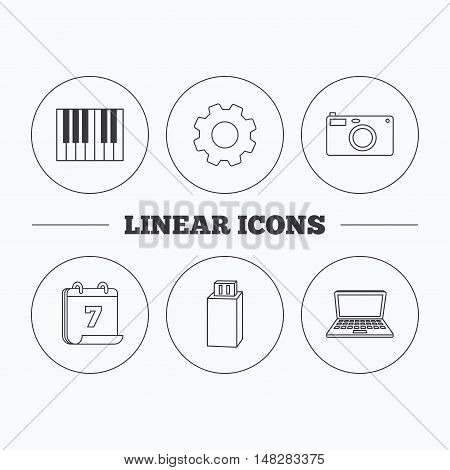 Photo camera, USB flash and notebook laptop icons. Piano linear sign. Flat cogwheel and calendar symbols. Linear icons in circle buttons. Vector