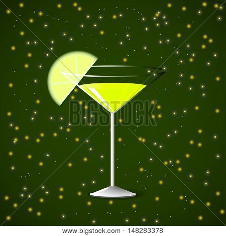Wineglass of martini, spray, slice of lime on a green background, vector illustration