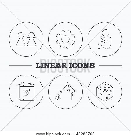Couple, paediatrics and dice icons. Under supervision linear sign. Flat cogwheel and calendar symbols. Linear icons in circle buttons. Vector