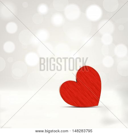 Red wooden heart with abstract romantic shiny background and place for your loving message - vector illustration