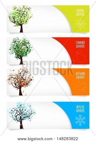 Collection of paper banners with four season trees season icons place for your text and drop shadows on white background - vector illustration