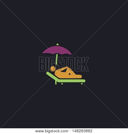 lounger Color vector icon on dark background