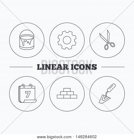 Spatula, scissors and bucket of paint icons. Brickwork linear sign. Flat cogwheel and calendar symbols. Linear icons in circle buttons. Vector