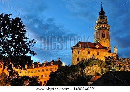 Beautiful night view of castle tower in Cesky Krumlov, Czech republic