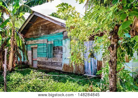 Wooden house in Caribbean town of Livingston, Guatemala