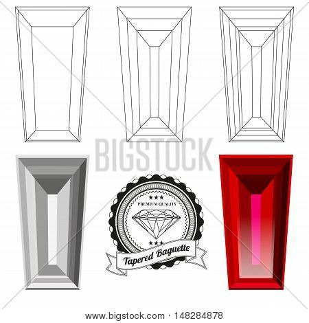 Set of tapered baguette cut jewel views isolated on white background - top view bottom view realistic ruby realistic diamond and badge. Can be used as part of logo icon web decor or other design.