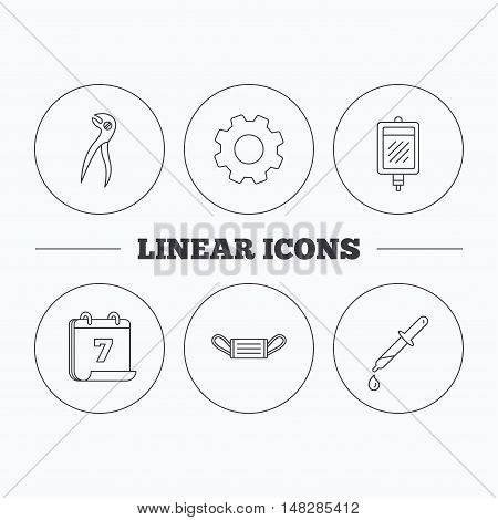 Medical mask, blood and dental pliers icons. Pipette linear sign. Flat cogwheel and calendar symbols. Linear icons in circle buttons. Vector
