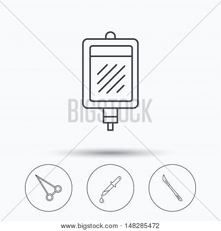 Pipette, blood donation and scalpel icons. Peans forceps linear sign. Linear icons in circle buttons. Flat web symbols. Vector