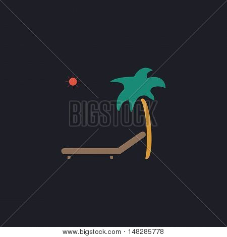 Deck chair Color vector icon on dark background