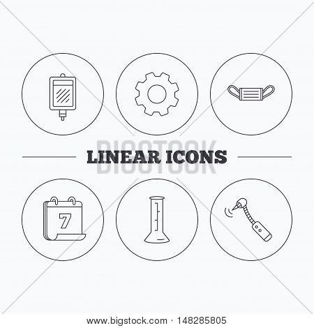 Medical mask, blood and drilling tool icons. Beaker linear sign. Flat cogwheel and calendar symbols. Linear icons in circle buttons. Vector