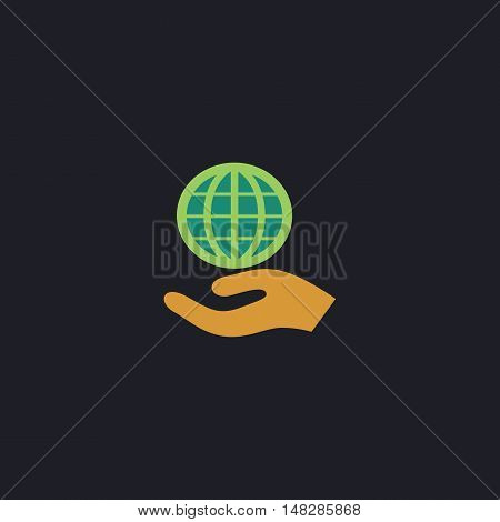 save earth Color vector icon on dark background