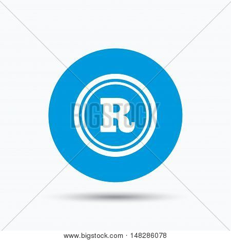 Registered trademark icon. Intellectual work protection symbol. Blue circle button with flat web icon. Vector