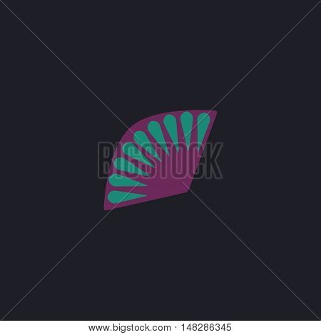 Folding fan Color vector icon on dark background