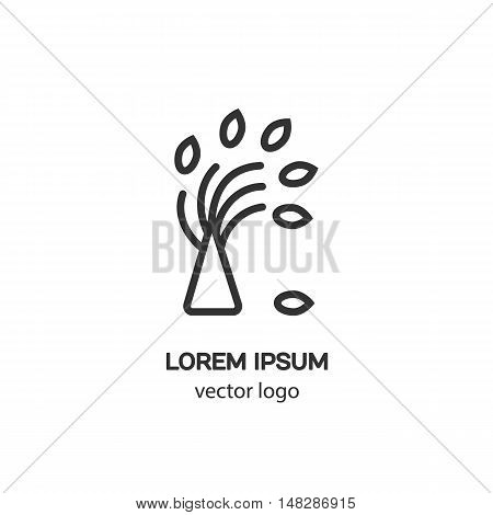 Line style logotype a tree. Isolated on white background and easy to use. Clean and minimalist symbol. Modern easy to edit logo template.