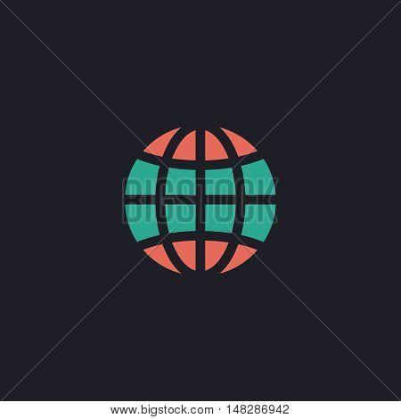 Earth Color vector icon on dark background