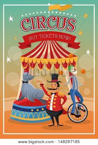seal clown and presenter cartoon icon. Circus carnival and festival theme. Colorful  design. Vector illustration