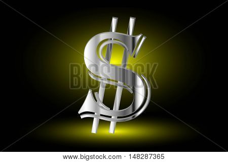 Illustration of dollar symbol ,dollar symbol,dollar symbol on a yellow background