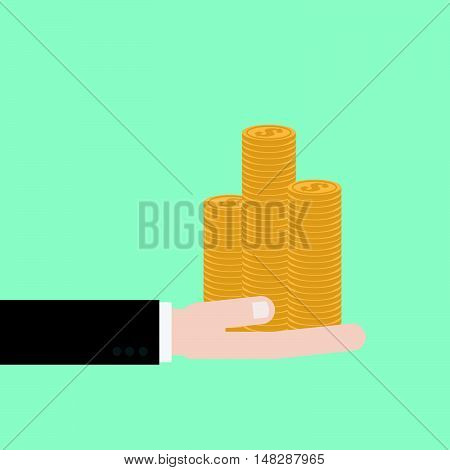 Businessman Hand Holding Coin Money Stack