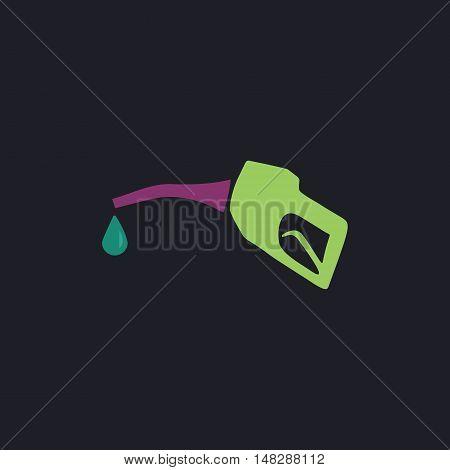 Gasoline pump nozzle Color vector icon on dark background