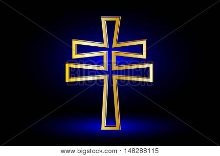 cross on a blue background ,double religious cross ,Christian double cross