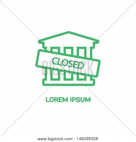 Line style logotype template building is closed with a sign. Isolated on background and easy to use. Clean and minimalistic symbol. Economic concept.