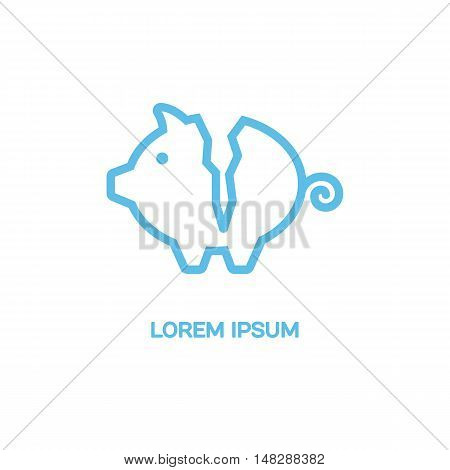 Line style logotype template with a piggy bank for money. Isolated on background and easy to use. Clean and minimalistic symbol. Economic concept.