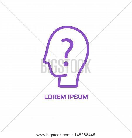 Line style logotype template with a silhouette of man and question mark. Isolated on background and easy to use. Clean and minimalistic symbol. Economic concept.