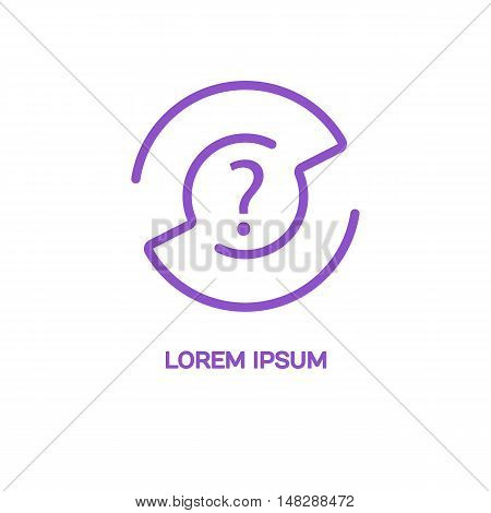 Line style logotype template with a maze and a question mark . Isolated on background and easy to use. Clean and minimalistic symbol. Economic concept.