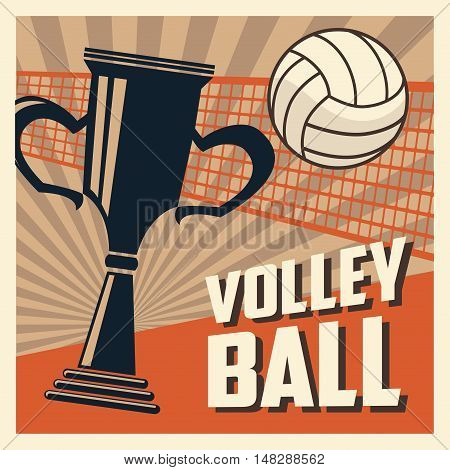 Trophy and ball icon. Volleyball sport hobby and competition theme. Colorful design. Vector illustration