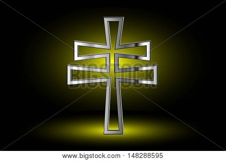 cross on a yellow background ,double religious cross,  Christian double cross