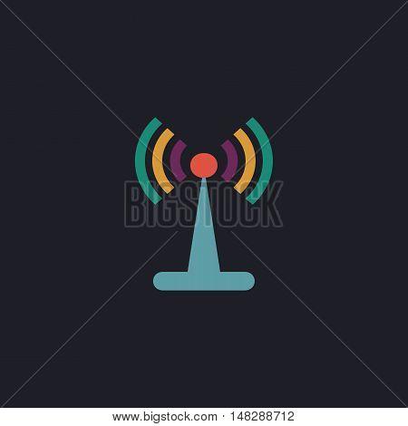 Antenna Color vector icon on dark background