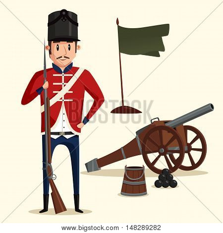 French army soldier with musket near pyramid of cannonballs and flag in ground. Warrior in uniform with rifle. Perfect fit for historical book illustration, revolution and independence theme