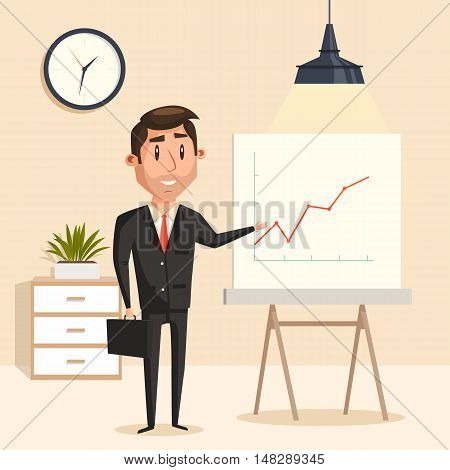 Businessman with rising graph at seminar or presentation, meeting showing with pointer at rising graph or chart. Great for analytics and business school, finance report and success theme