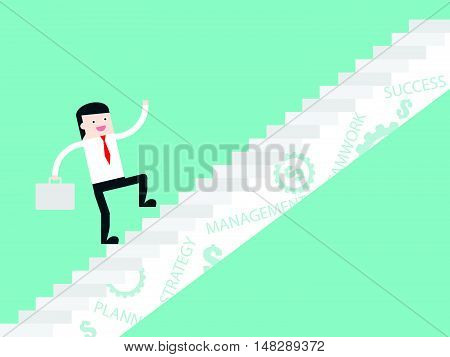 Businessman Step Up To Success