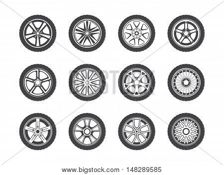 Wheel, tyre and tire collection of icons. Collection of round shaped rubber automobile or car, speed vehicle. Great for garage and machine shop, automotive and brake theme