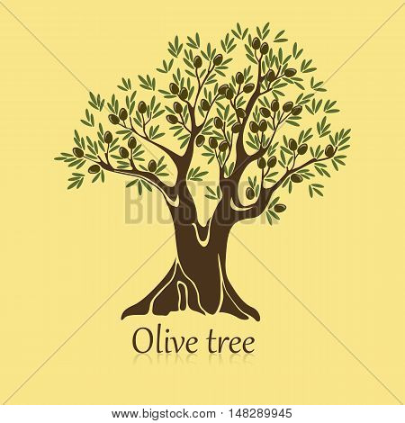 Ripe berries on branches of olive tree banner. Agriculture sticker or label for bottle or garden sign, symbol of natural organic drink, emblem for vitamin insignia