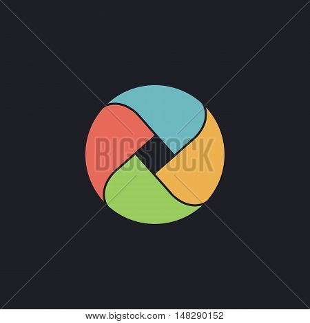 Wave circle Color vector icon on dark background