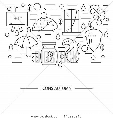 Autumn symbols in circle. Pumpkin hedgehog owl jam in a linear style. Great graphic for nnouncement advertisement flyer or banner.