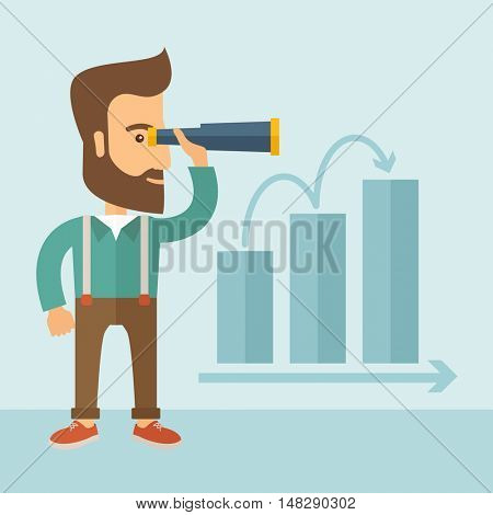 The man with a beard holding a telescope and seeing the graph towards success. Improvement concept.  flat design Illustration.