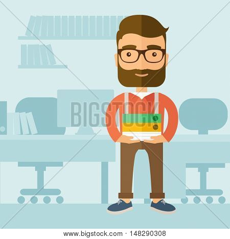The office clerk with a beard standing in front of his desk and holding office documents. Office job concept.  flat design illustration.