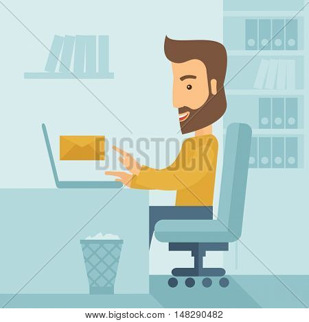 Young happy Caucasian man sitting infront of a table with computer laptop and thinking what to write in e-mail inside his office. A Contemporary style with pastel palette, soft blue tinted background