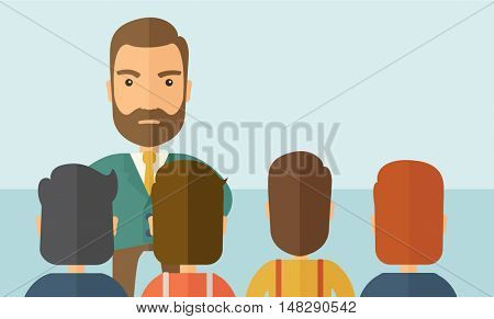 A very angry boss standing having a meeting to his employees facing him inside the office. Deadline and work Relationships business concept. A Contemporary style with pastel palette, soft blue tinted