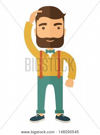 A man with beard standing with hand on his head having a problem in business, difficulties on how to solve his problem. A contemporary style. flat design illustration isolated on white background