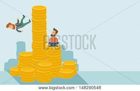 Happy businessman sitting with self confidence on the top of a coin while competitor feel sad on his falling down from higher piled coin as a symbol of unsuccessful business.A contemporary style with